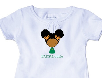 White t-shirt that says FAMU.cutie on the front